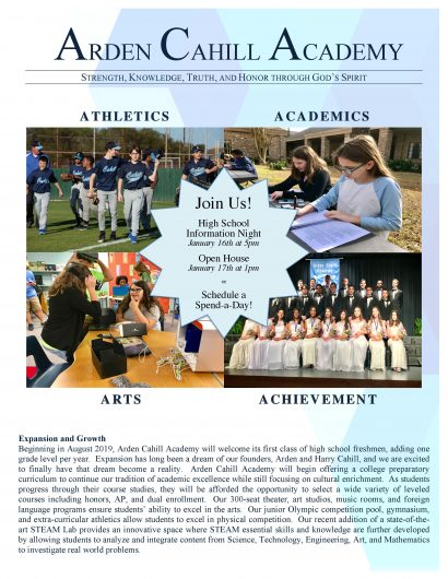 Arden Cahill Academy Open Houses